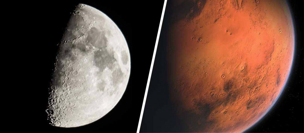 MARS AND MOON